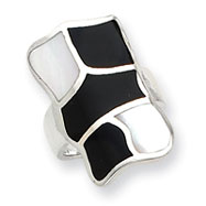 Sterling Silver Mother of Pearl & Enamel Ring