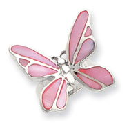 Sterling Silver Pink Mother Of Pearl Butterfly Ring