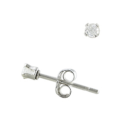 Sterling Silver 2mm Round CZ Stud Earrings
