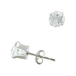 Sterling Silver 6mm Round CZ Stud Earrings