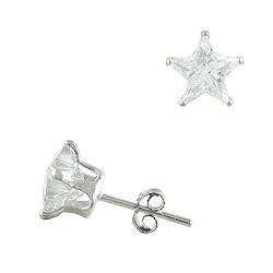 Sterling Silver 8mm Star CZ Stud Earrings