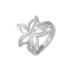 Sterling Silver Pave CZ Flower Ring