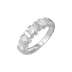 Sterling Silver 4mm Stone and Bar CZ Ring