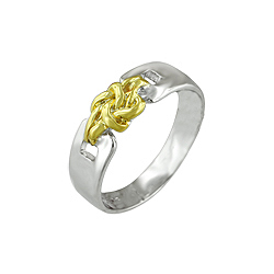 Sterling Silver Two Tone Fancy Knot Ring