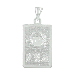 Sterling Silver Cancer-Crab Zodiac Symbol Tag Pendant