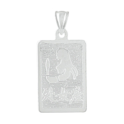 Sterling Silver Virgo-Virgin Zodiac Symbol Tag Pendant