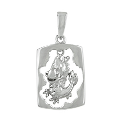 Sterling Silver Chinese Calendar Year of the Dragon Pendant