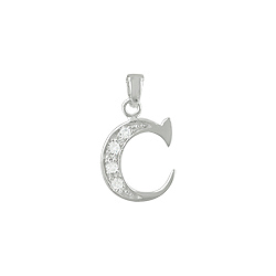 "Sterling Silver ""C"" Pendant with White CZ"