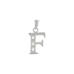 "Sterling Silver ""F"" Pendant with White CZ"