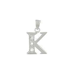 "Sterling Silver ""K"" Pendant with White CZ"