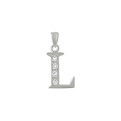 "Sterling Silver ""L"" Pendant with White CZ"
