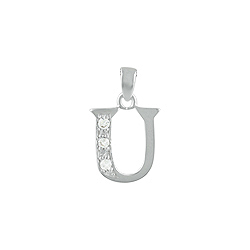 "Sterling Silver ""U"" Pendant with White CZ"
