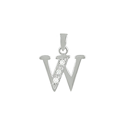 "Sterling Silver ""W"" Pendant with White CZ"