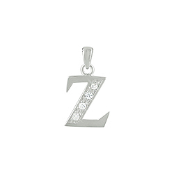 "Sterling Silver ""Z"" Pendant with White CZ"