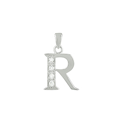 "Sterling Silver ""R"" Pendant with White CZ"