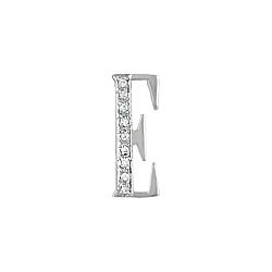 "Sterling Silver Pave CZ ""E"" Pendant"