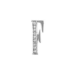 "Sterling Silver Pave CZ ""F"" Pendant"