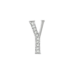 "Sterling Silver Pave CZ ""Y"" Pendant"