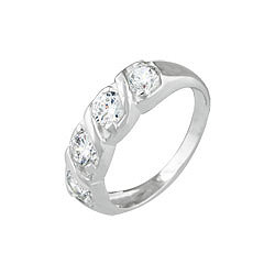 Sterling Silver 5mm Wave CZ Ring