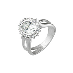 Sterling Silver Oval CZ Pave Ring