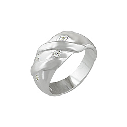 Sterling Silver Wrapped Etoile CZ Ring