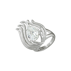 Sterling Silver Flame Ring with (10x13mm) Pear CZ