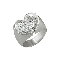 Sterling Silver Pave CZ Heart Ring