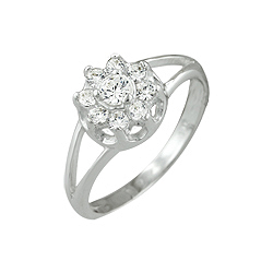 Sterling Silver Round CZ Flower Ring