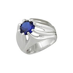 Sterling Silver Elevated Design Blue CZ Ring