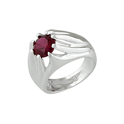 Sterling Silver Elevated Design Red CZ Ring