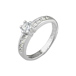 Sterling Silver 4mm Round CZ Pave Ring