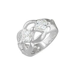 Sterling Silver 5mm Three Princess CZ Ring
