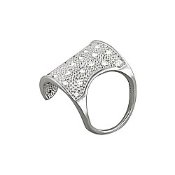 Sterling Silver Wide Arch Textured Ring with Etoile CZ