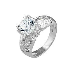 Sterling Silver 8mm Round CZ Ring with Flowers