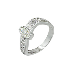 Sterling Silver Pave Wave and CZ Ring