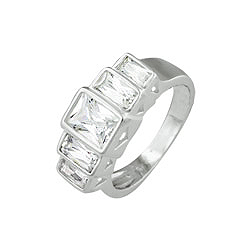 Sterling Silver Emerald Cut Five CZ Ring