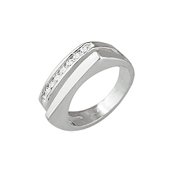 Sterling Silver Square Solid and Channel CZ Double Ring