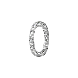 "Sterling Silver Pave CZ ""O"" Pendant"