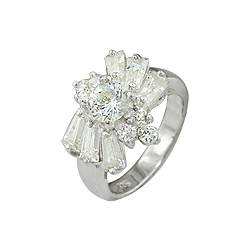Sterling Silver Fashion Ring with White CZ