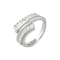 Sterling Silver CZ Twist Ring