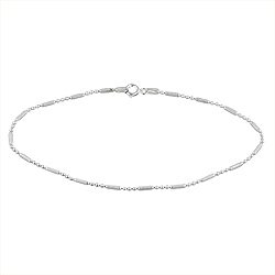 Sterling Silver High Polish and Matte Finish 1.5mm Ball and Stick Chain Anklet
