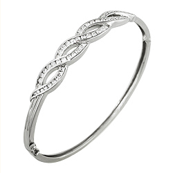 Sterling Silver Pave Braid Bangle
