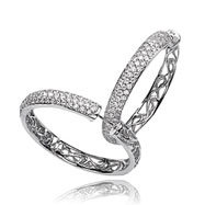 14K White Gold Diamond Hinged Hoops