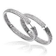 14K White Gold Diamond In And Out Hinged Hoops