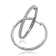 14K White Gold Diamond Hinged Hoops