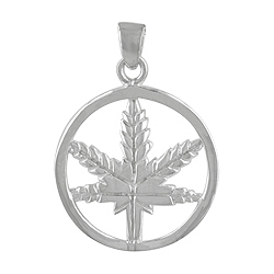 Sterling Silver Marijuana Circle Pendant