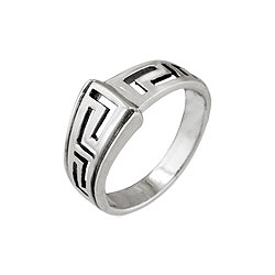 Sterling Silver Raised Greek Design Ring