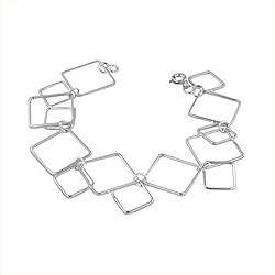 Sterling Silver Connected Squares Bracelet
