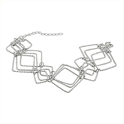Sterling Silver Connected Squares Adjustable Bracelet