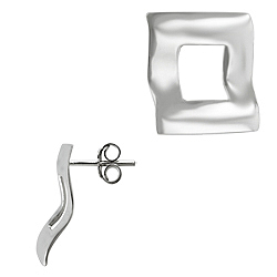 Sterling Silver Bent Open Square Stud Earrings
